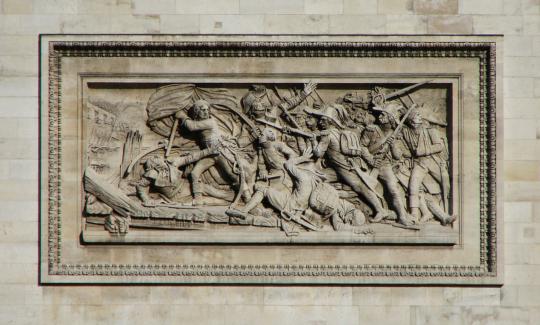 가장 나폴레옹의 피를 마르게 했던 전투인 아르콜레 다리 전투입니다. 이 전투도 개선문에 새겨질 자격이 충분히 있지요. 이 전투에 대해서는 아르콜레의 용자 http://blog.daum.net/nasica/6862468 참조