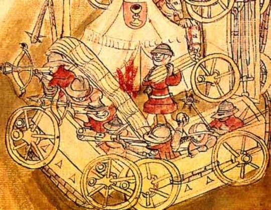 후스파의 베겐부르크 The Hussite Wagenburg. 15세기 삽화