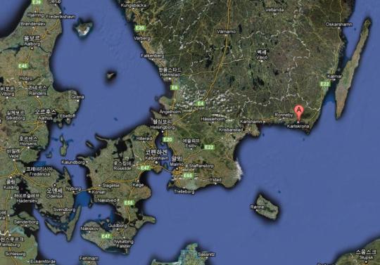 저 지도에 A자로 표시된 것이 바로 칼스크로나입니다.