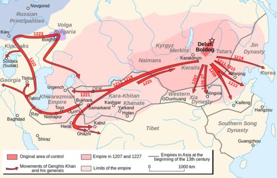 몽골 제국의 13세기 진출 방향