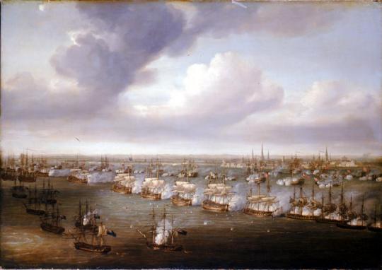 그 작전 계획의 결과가 이런 모습으로 나타났습니다. 저 오른쪽 뒤편이 코펜하겐 시내이고, 그 앞을 한줄로 가로 막아선 덴마크 군함들, 그리고 그 앞에 역시 한줄로 늘어선 영국 전함들이 보입니다. 왼쪽 아래쪽에 무질서하게 늘어선 배들이 바로 bomb ketch 들입니다.