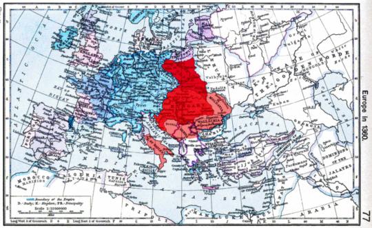 루이 1세 시절 폴란드와 헝가리를 지배하고 몰다비아, 왈라키아 등을 봉신으로 거느린 헝가리의 치세. 14세기 후반. 붉은 색은 직접 통치, 옅은 붉은 색은 봉신 관계