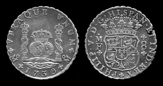 필립 5세의 동전. 8레알 만큼 무게를 달았다.
