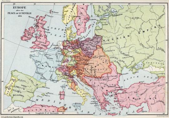 약간 뒤의 일이긴 합니다만, 1801년 루네빌 조약 이후 유럽 지도입니다. 보시다시피 당시 노르웨이는 덴마크 왕의 지배를 받고 있었습니다. 사실 덴마크나 노르웨이, 스웨덴은 모두 바이킹의 후손으로서 한통속이지요.