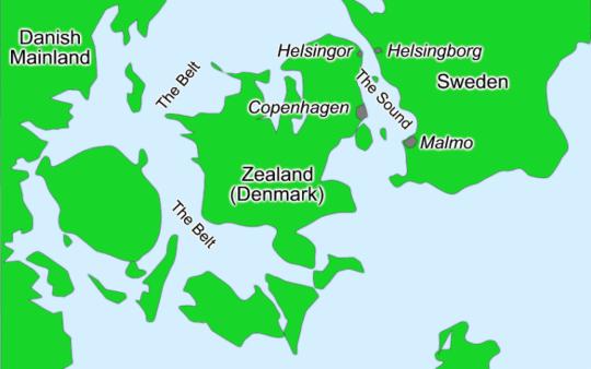 코펜하겐이 위치한 섬이 젤란트, 또는 셰란이라는 섬이고, 그 서쪽이 영국인들에게 The Belt라고 불렸던 해협이고, 동쪽이 The Sound라고 불렸던 해협입니다. 먼 남의 나라 해협에 대해서 자기들이 부르는 이름이 있다니, 앵글로색슨은 해양 전투민족이라는 것을 새삼 깨닫게 됩니다.