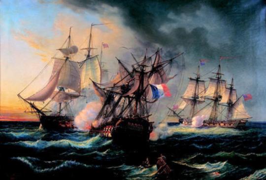 이 장면은 혼블로워 시리즈에서도 언급된 1797년의 사건인데, 그림 중앙에 있는 프랑스의 74문짜리 전함 Droits de l'homme 호, 즉 '인권'호를 왼쪽의 영국 프리깃 HMS Indefatigable 호와 오른쪽의 영국 프리깃 HMS Amazon 호가 협공하여 좌초시킬 때의 모습입니다. 이떄의 HMS 아마존이 위에서 언급된 그 아마존 호 맞습니다.