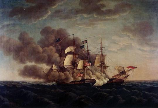 이 그림은 1812년 미국 프리깃인 USS Constituition이 영국 프리깃인 HMS Guerriere와 교전하는 모습입니다 저렇게 돛을 달고 서로 꼬리를 잡으려고 노력하면서 싸우는 것이 정상입니다만, 그 와중에 활대와 도르래, 심지어 돛대까지 부러져 갑판 위로 떨어지는 일이 아주 많았고, 그런 것에 맞아 죽거나 다치는 수병들도 많았습니다. 그런 것을 조금이라도 막기 위해 전투 중에는 갑판 위에 그물망을 쳐두는 것이 정규적인 전투 준비 중의 하나였습니다.
