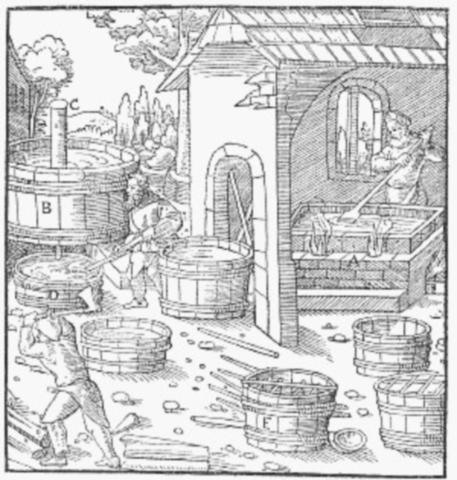 16세기의 초석 공장입니다. 초석 공장은... 음... 암튼 냄새가 지독했다고만 이해하십쇼.