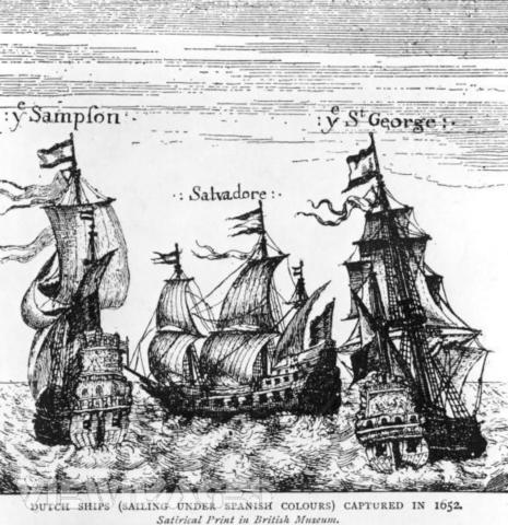 이 배들은 원래 네덜란드 군함이었으나 1652년 크롬웰의 항해 조례 직후 벌어진 전투에서 영국 해군에게 나포된 배들입니다. 네덜란드처럼 해운업으로 먹고 사는 나라에게 항해 조례는 굶어죽으라는 말이나 다름없는 청천벽력이었지요.