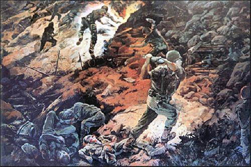 적진에서 산화하는 육탄 10용사들을 그린 그림.