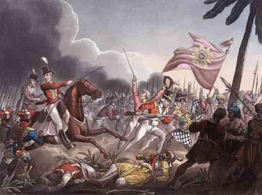 아사예 전투 모습입니다. 그림 왼쪽의 세포이 병사들이 반바지를 입은 모습이 이채롭지요 ? 실제로 당시 세포이 병사들은 유럽식 군복 코트를 입었습니다만 바지는 반바지였고, 영국군 병사들은 이를 무척 부러워했다고 합니다.