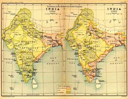 왼쪽이 1765년의 인도 지도이고, 오른쪽이 웰슬리 형제가 인도를 떠나던 1805년의 지도입니다. 동부 해안의 분홍색 영역, 즉 영국 지배하의 영역이 크게 넓어졌음을 보실 수 있습니다.