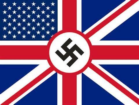 """""""앵글로-아메리칸-나치 깃발"""", 영미는 과연 정의로운 선의 세력일까? 19세기의 영국 패권시대와 미국의 서부 개척사를 살펴보면 나찌 독일의 지배와 착취, 학살 등이 상당부분 영국과 미국을 '벤치마킹' 했다는 사실을 알 수 있다. 과연 영국과 미국이 나찌 독일을 비난할 자격이 있는지 의심이 든다. (http://sttpml.org/canada/breathtaking-hubris-and-hypocrisy-the-nature-and-foundations-of-anglo-american-and-nazi-imperiums-part-i-u-s-origins-development-inspirations-and-cover-ups-of-wmds/)"""
