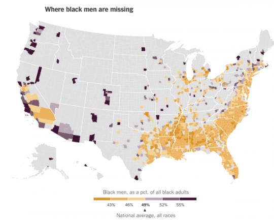 흑인 전체 인구에서 흑인 남성이 차지하는 비율.