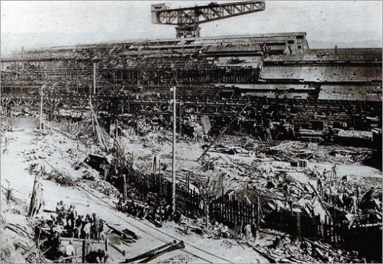 ▲ 미쓰비시의 나가사키조선소. 이 조선소에서 조선인 6천명이 노예노동을 강요당했다.