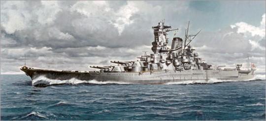 ▲ 일제가 자랑한 전함 무사시. 1940년 진수한 이후 1944년 레이테만에서 연합군의 공중공격을 받아 침몰했다.