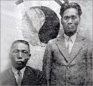 ▲ 거사에 앞서 백범과 매헌이 찍은 기념사진