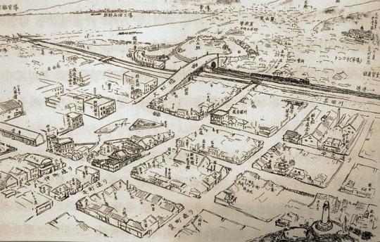 ▲ 원산의 일본인촌의 모습 : 철길 너머로 조선인들의 거주지가 보인다.