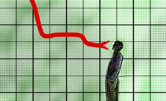 Man facing threatening snake on descending graph