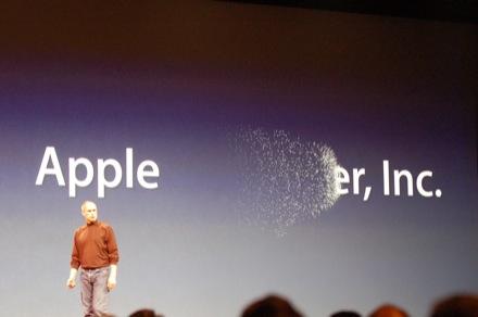 스티브 잡스가 'Apple Computer, Inc'에서 'Computer'를 지우고 있다. (Engadget)
