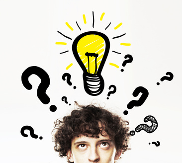 man with lamp and question symbol