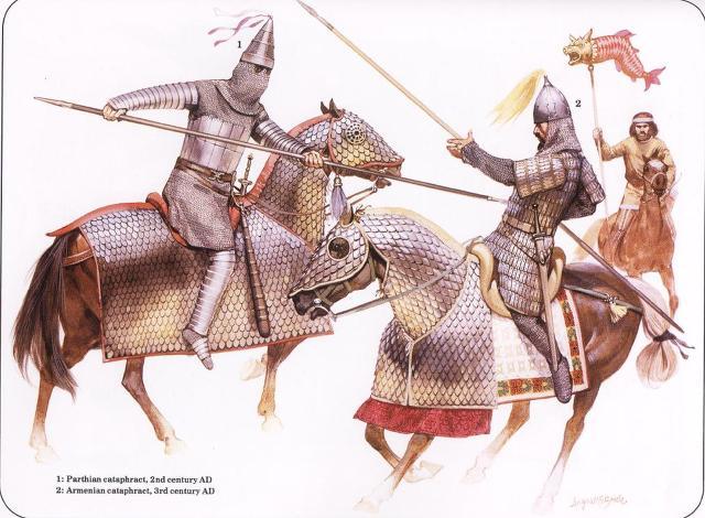 기원후 2~3세기 당시의 카타프랙트입니다. 몽골 기병도 활만 쏘는 경기병만 있을 것으로 오해하는 사람이 많은데, 몽골 중기병도 이렇게 두터운 장갑을 두르고 큰 도끼나 둔기를 사용해서 적의 중기병이나 중보병을 상대했습니다.