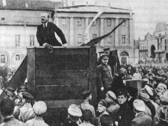 Original photo of Lenin in 1920 which includes Leon Trotsky, prior to Stalin ordering Trotsky be removed.