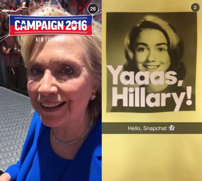 미국 대선후보 힐러리 클린턴의 스냅챗