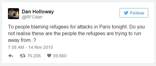 오늘 파리에서 벌어진 사태에 대해 난민들을 비난하는 사람들에게 : 이들이야말로 난민들이 벗어나려 했던 자들이라는 건 이해가 안 됩니까? - 댄 할로웨이