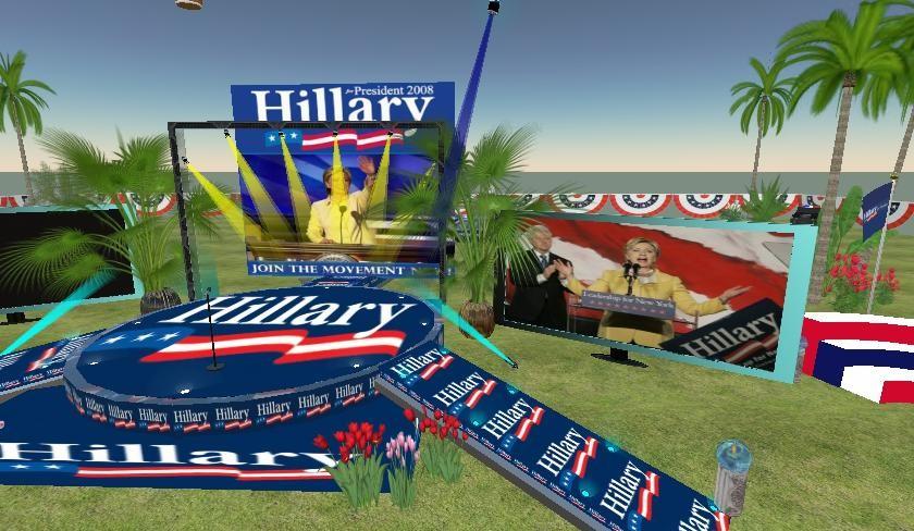 세컨드라이프에 있는 힐러리 클린턴 섬..