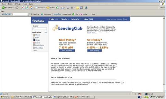 지금은 6조가 넘는 기업가치의 회사가 됐지만 2007년 렌딩클럽도 아주 미약하게 시작했다. 2007년 페이스북위에서 투자자와 돈을 빌리고자 하는 사람들을 중계해주는 회사로서 시작했다.