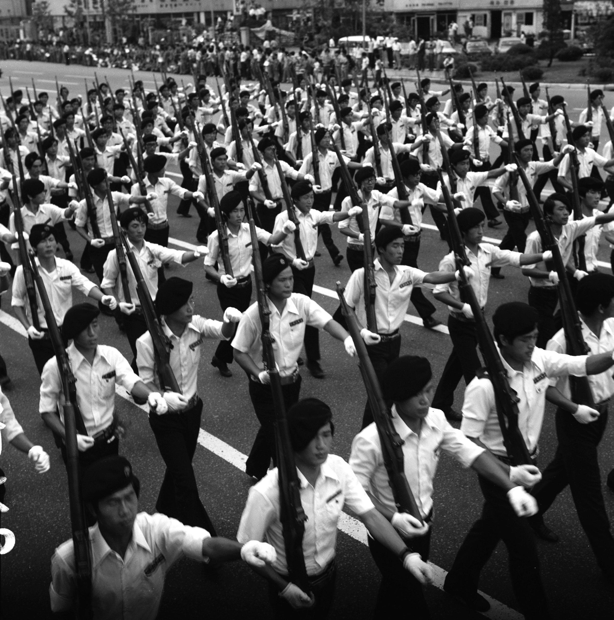 1975년 중앙학도호국단 발대식 시가행진 장면