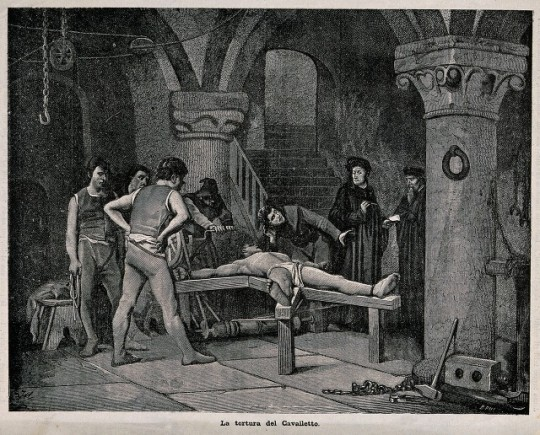 V0041737 A man dressed in a loincloth is tortured on the rack with a Credit: Wellcome Library, London. Wellcome Images images@wellcome.ac.uk http://wellcomeimages.org A man dressed in a loincloth is tortured on the rack with a priest bending over him to extract a confession. Wood engraving by B. Pug after J.M. By: J. M.after: B. PugPublished: - Copyrighted work available under Creative Commons Attribution only licence CC BY 4.0 http://creativecommons.org/licenses/by/4.0/