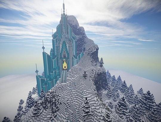 로 구현한 엘사의 얼음성 출처: 9MINECRAFT