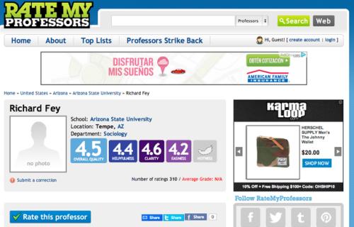 영미권 교수 평가 사이트 - http://www.ratemyprofessors.com/