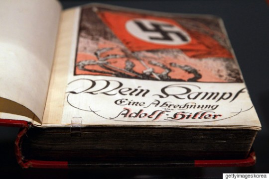 BERLIN - OCTOBER 13: The book 'Mein Kampf' (My Struggle) by Adolf Hitler is pictured during a press preview of 'Hitler and the Germans Nation and Crime' (Hitler und die Deutschen Volksgemeinschaft und Verbrechen) at Deutsches Historisches Museum (German Historical Museum) on October 13, 2010 in Berlin, Germany. The exhibition seeks to answer the question of why so many Germans chose to follow Hitler and his fascist ideology and so devotedly despite the horrors of World War II and the Holocaust. The exhibition will be open to the public from October 15 until February 6, 2011. (Photo by Andreas Rentz/Getty Images)