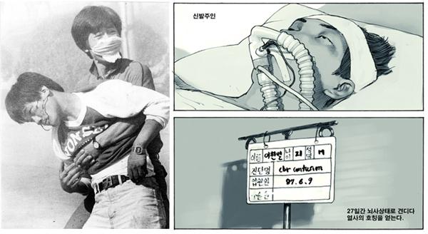 이한열 열사의 모습과 최규석 작가의 《100℃: 뜨거운 기억, 6월 민주항쟁》