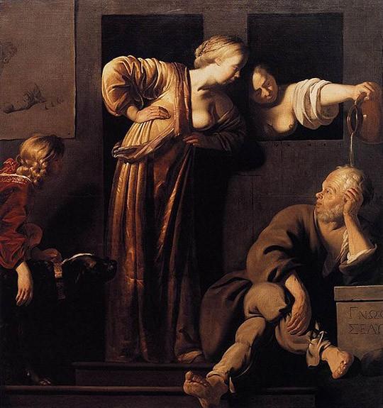 Reyer Jacobsz. van Blommendael, 1655년경, Xantippe Dousing Socrates, 캔버스에 유채.