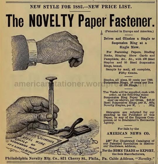 신문에 실린 The Novelty Paper Fastener의 모습 출처: American Stationer