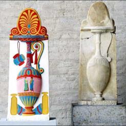 Stele der Paramythion und Rekonstruktion der farbigen Fassung (Original München Glyptothek 522, um 370 v.Chr.) Die Stele der Paramythion war die erste bemalte Grabstele, an der die UV- und Streiflichttechnik 1960 erfolgreich erprobt und deren Erscheinungsbild für einen Museumskatalog erschlossen wurde.  Copyright Stiftung ArchŠologie, MŸnchen