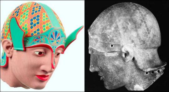 Kriegerkopf aus dem Ostgiebel des Aphaia-Tempels von Aigina, um 490/480 v.Chr. Im UV-Licht ist das Schuppenmuster auf dem Helm deutlich erkennbar. Copyright Stiftung ArchŠologie, MŸnchen