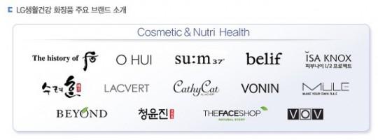 LG생건은 사실 우리가 아는 것보다 훨씬 많은 브랜드들을 거느리고 있다... 위 사진도 그 중 아주 일부. 출처: raise