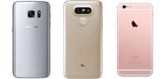 (왼쪽부터) 삼성 갤럭시 S7, LG G5, 애플 아이폰 6s