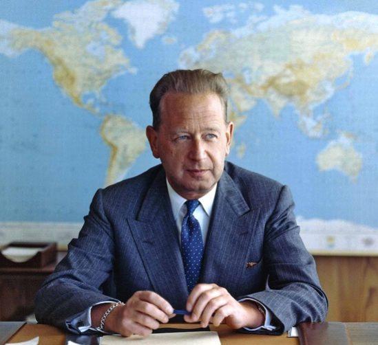 제2대 UN 사무총장이었던 다그 함마르셸드의 모습.