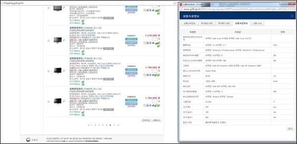 조달청에 올라온 내부,외부망 일체형 컴퓨터 종류와 판매가 출처: 조달청