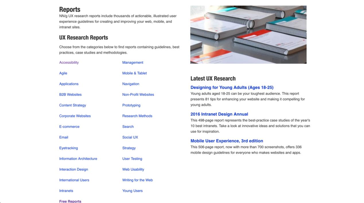주제별로 잘 나눠진 Reports 들이 나열되어 있다