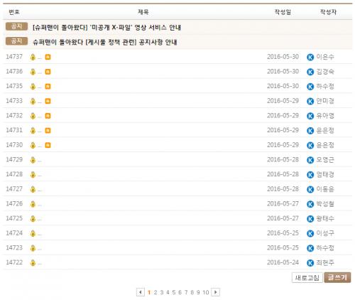 지금 슈돌 공식홈페이지 게시판은 완벽한 익명제가 되었다 출처: KBS
