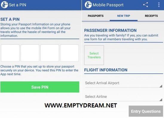 자신의 개인정보에 접근하기 위한 핀 번호(비밀번호)를 설정해야 한다. 그러면 다음부터는 이미 기록한 개인정보를 불러올 수 있다. NEW TRIP은 입국 할 때마다 작성해야 하는데, 개인정보를 불러오고, 기타 정보들을 써 넣기만 하면 된다.