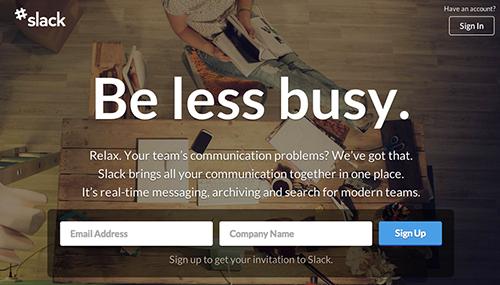 """슬랙의 """"Be less busy"""""""