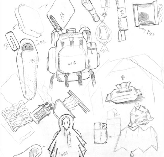 생존 배낭을 이루는 구성품의 스케치